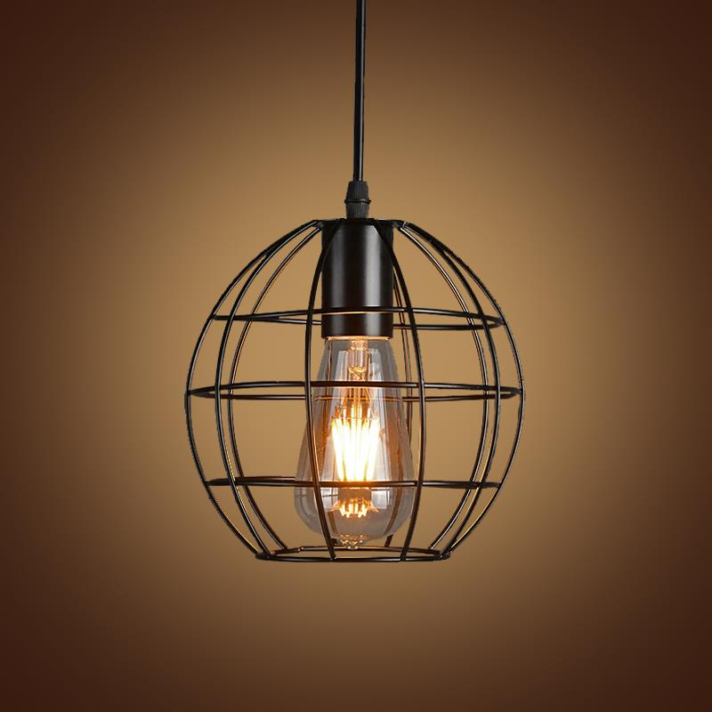 Birdcage Iron Pendant Lights E27 Retro Loft Lamps Industrial Pendant Lamp Hanging Light Bar Cafe Bedroom Restaurant Fixtures vintage iron pendant light loft industrial lighting glass guard design cage pendant lamp hanging lights e27 bar cafe restaurant