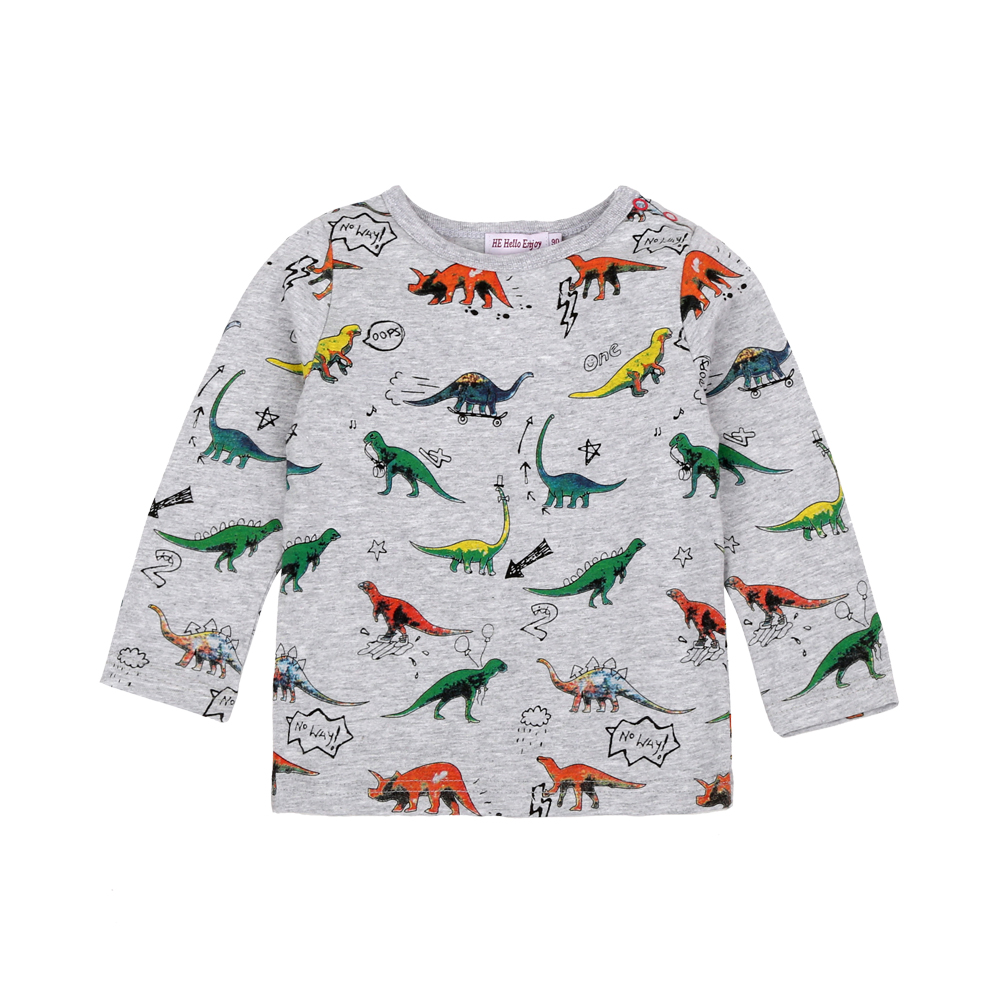 WWAXU Boys Shirt Long Sleeve Pullover Kids Sweatshirts Dinosaur T-Shirt Tops for Toddler