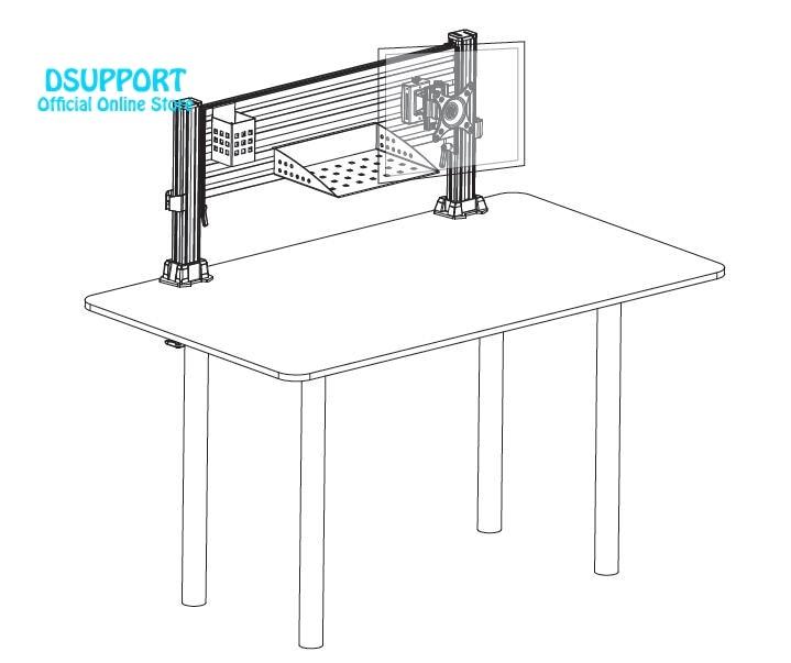 2017 Nouveau Moniteur LCD En Aluminium Montage Bureau mobile Écran moniteur support de bureau mobiles plateau de livre stylo porte outils - 3