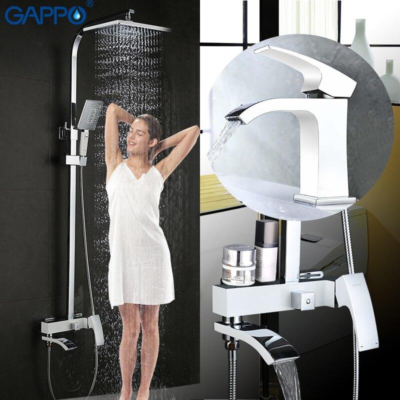 GAPPO baterie natryskowe baterie do wanny z prysznicem zestaw biały bateria łazienkowa wanna z prysznicem zestaw prysznicowy z deszczownicą zestaw kranów umywalkowych