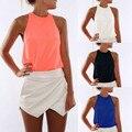 Summer women t shirt vestidos chiffon white candy color sleeveless off shoulder crop T-shirt casual female shirts blusas #12