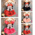 2015 niños del verano nuevos falda 2 unid Sets traje Minnie Mouse para niños ropa muchachas de la princesa set ropa de la camiseta + falda