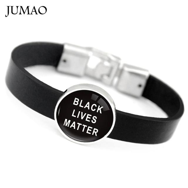 Black Lives Matter Leather Bracelets Bangles Cuff Glass Cabochon