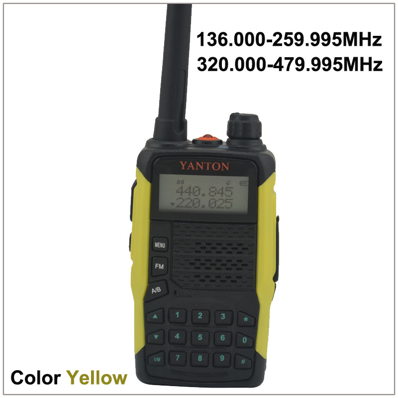 TX & RX both from 136.000-259.995MHz & 320.000-479.995MHz Dual Band FM Portable Two-way Radio YANTON GT-03 Color Yellow