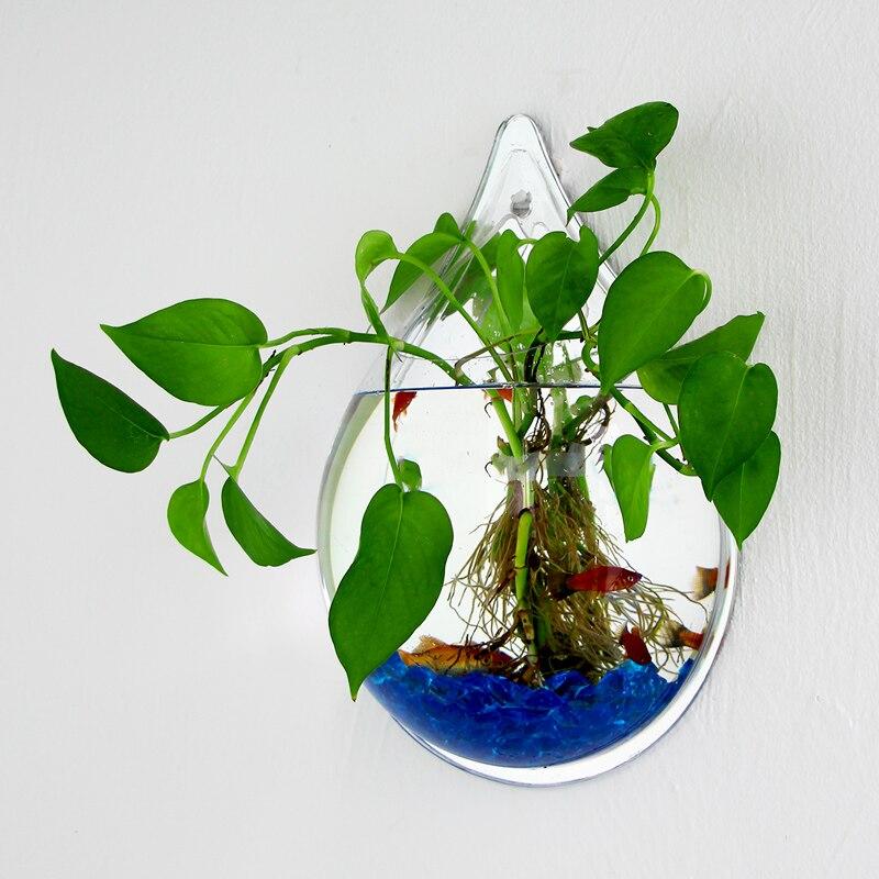 Tenture murale acrylique poissons réservoirs avec accessoires montage mural Aquarium réservoir d'eau Pot de fleur plante Vase Mini Aquarium Betta poisson - 3
