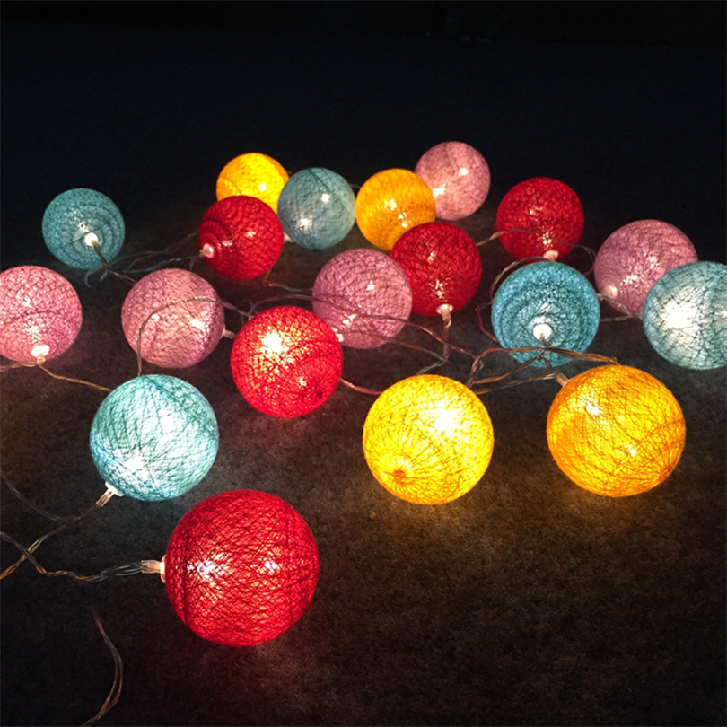 Trecaan Cotton Ball Light 20/30 Led Fairy String Light Battery Powered Christmas Wedding Festival Party Kids Bedroom Decor Light