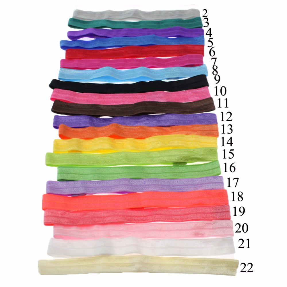 1 Girls Solid Color Elastic FOE Headbands DIY Hair Accessory Satin Stretchy elastic bands Headwear 22 Colors
