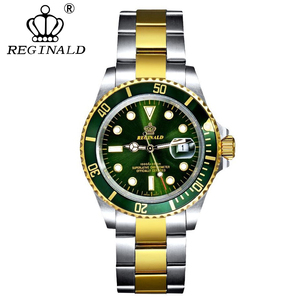 Image 3 - REGINALD นาฬิกาผู้ชาย Rotatable BEZEL GMT Sapphire Glass 50 M น้ำเต็มรูปแบบกีฬาแฟชั่นสีน้ำเงิน dial ควอตซ์นาฬิกา Reloj hombre