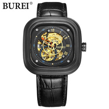 BUREI Men Leather Strap Sport Watch Male Japanese Antomatic Mechanical Wristwatches male square dial military Casual clock hours
