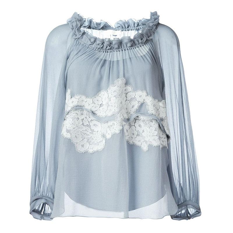 Herbst T Shirt Chic Weibliches Hellblaue Solide Stickerei Marke angHw