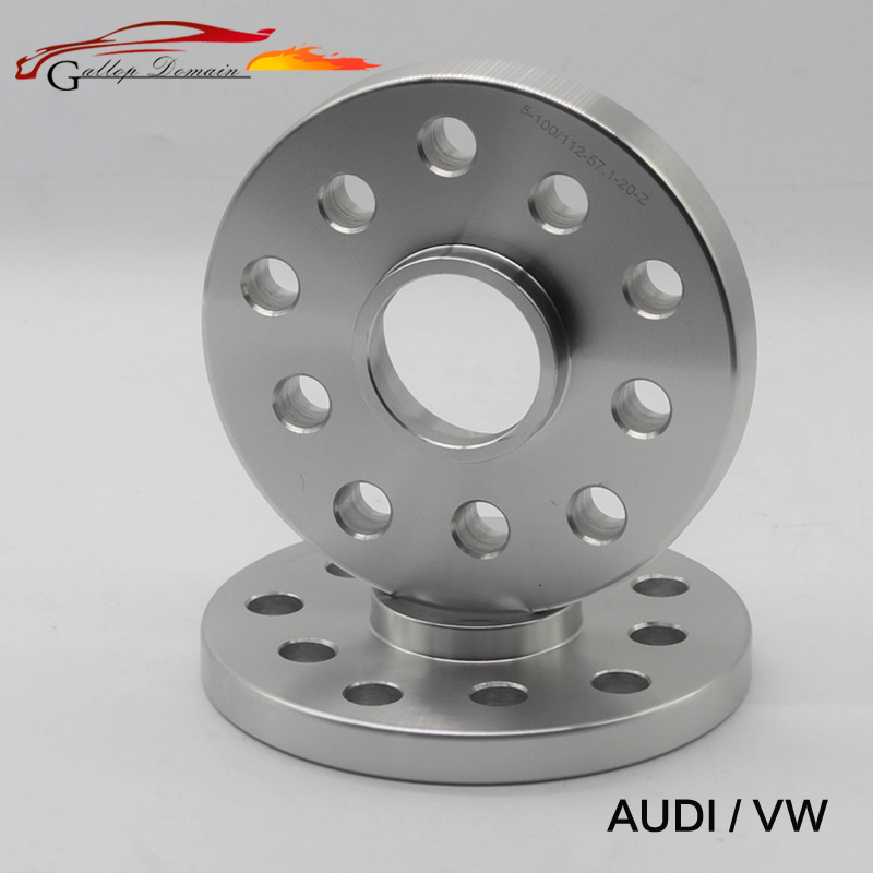 2PCS 15mm Thickness Wheel Spacers Of The PCD 5x100/5x112 Mm HUB 57.1mm Car-Styling Silver Color 6061 - T6 Forge Aluminum