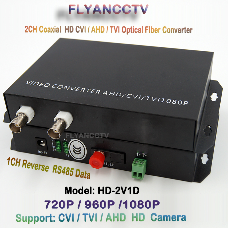 2ch 1080P HD AHD TVI CVI Video Fiber Optical Transcevier With 1ch Reverse RS485 Data For 1080P / 960P/ 720P HD Coaxial Camera