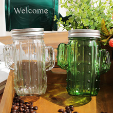 Creative 3D Cactus Mason Cans Glass Cold Drinking Bottle with Cap and Pipette Sand Ice Milk Tea Mug