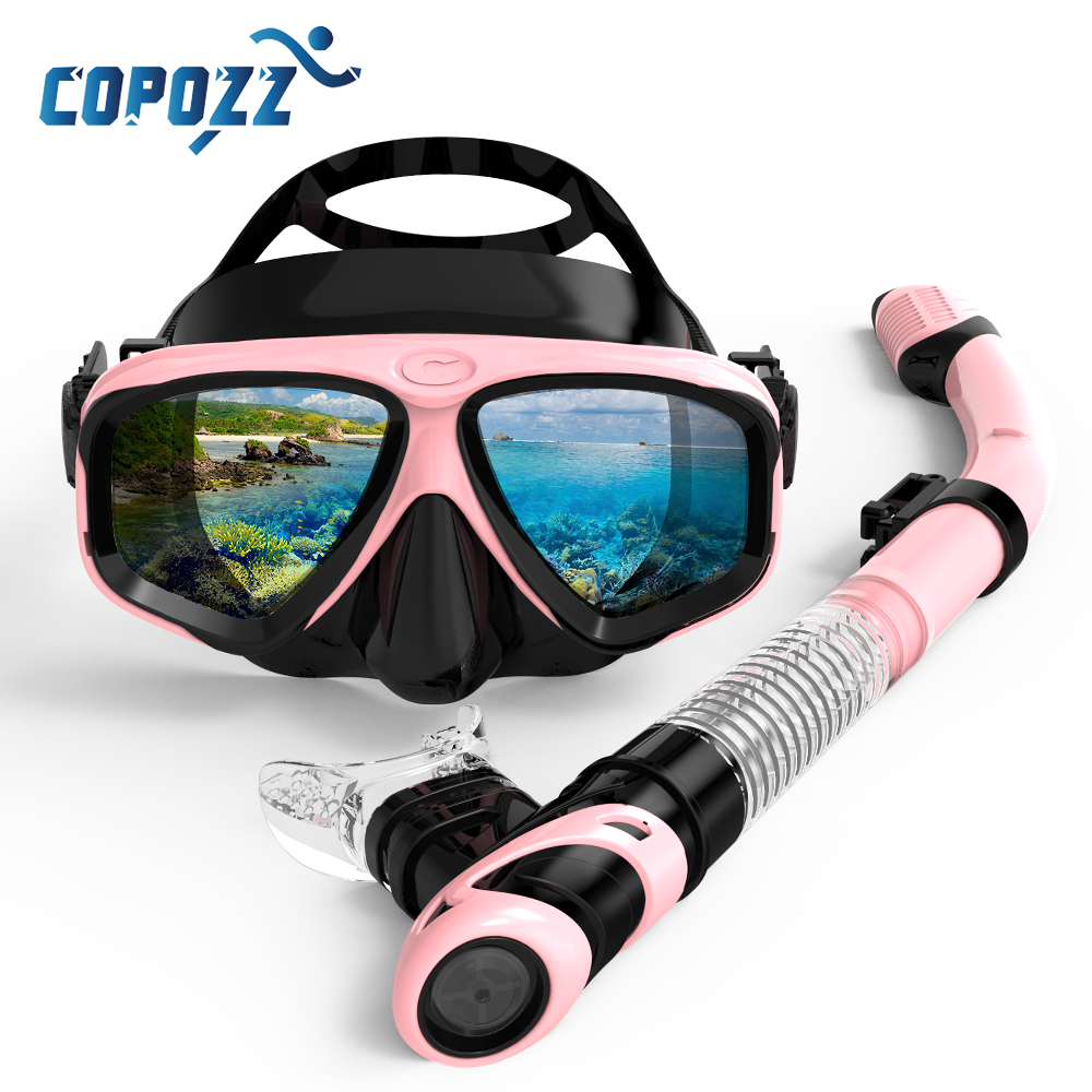 Copozz New Professional Scuba Diving Mask Snorkel Anti-Fog Goggles Glasses Tube Set Men Women Silicone Swimming Pool Equipment