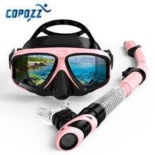 Copozz New Professional Scuba Diving Mask Snorkel Anti-Fog Goggles Glasses Tube Set Men Women Silicone Swimming Pool Equipment