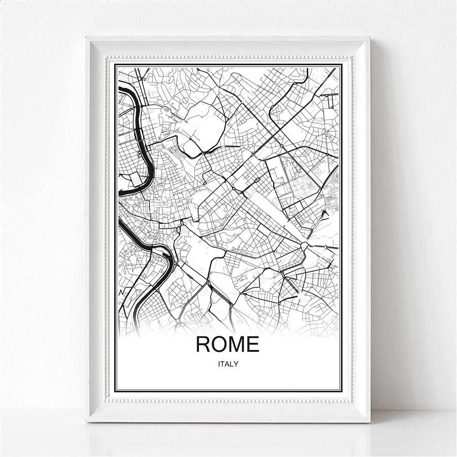 World City Abstract Map Rome Canvas or Paper Print Poster Painting Modern Bar Cafe Wall Sticker Living Room Paint Decor maps