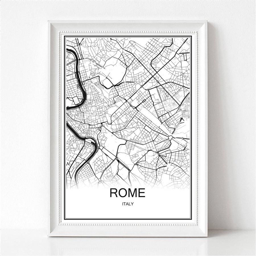 Wereldstad abstracte kaart Rome doek of papier afdrukken Poster schilderij moderne bar Cafe muursticker woonkamer verf Decor kaarten