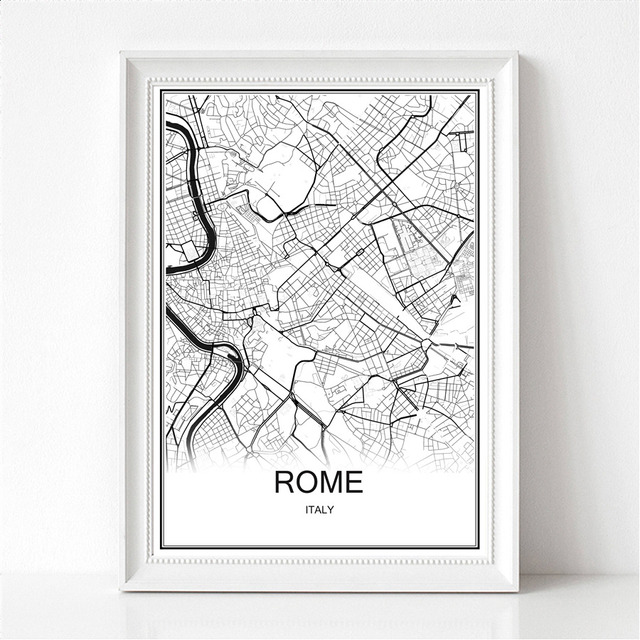 Abstract Map Of The World.World City Abstract Map Rome Canvas Or Paper Print Poster Painting
