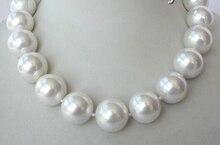 Классический Большой 20 мм круглый белый Южная Sea Shell Жемчужное ожерелье застежка AAA стиль тонкой благородной натуральным Бесплатная доставка