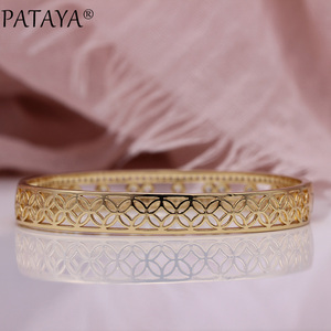 Image 5 - を PATAYA 新中空花びら女性腕輪 585 ローズゴールド婚約ファッションジュエリーラウンド精天然ジルコン高級対称バングル