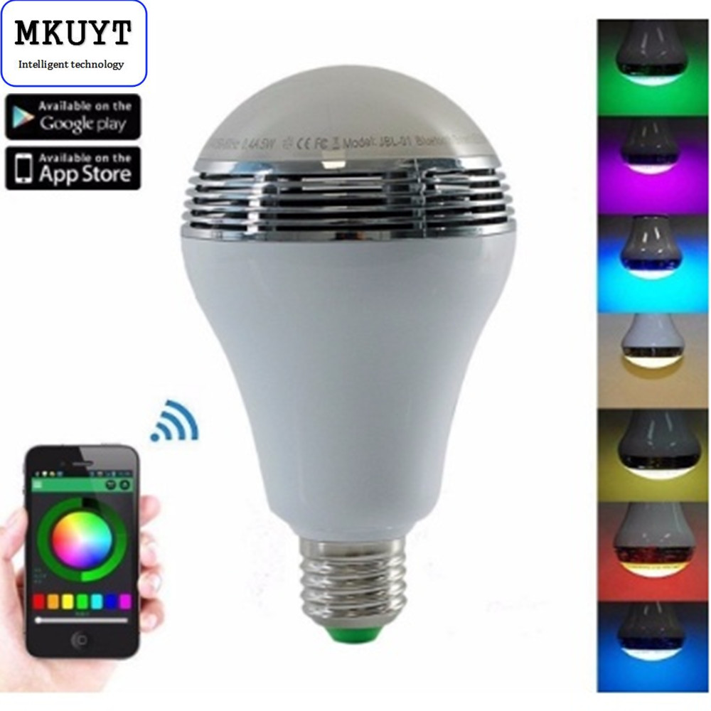 Smart RGB Multicolored E26/E27 Dimmable LED Light Bulb Build in Bluetooth Speaker Remote Control By iOS & Android Devices App