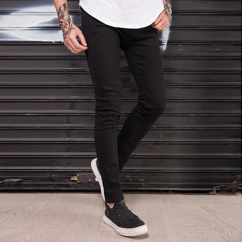 f9cd9527e2e ... Wholesale 2019 Fashion black skinny jeans men hip hop streetwear  pantalon homme distressed knee Ripped hole ...