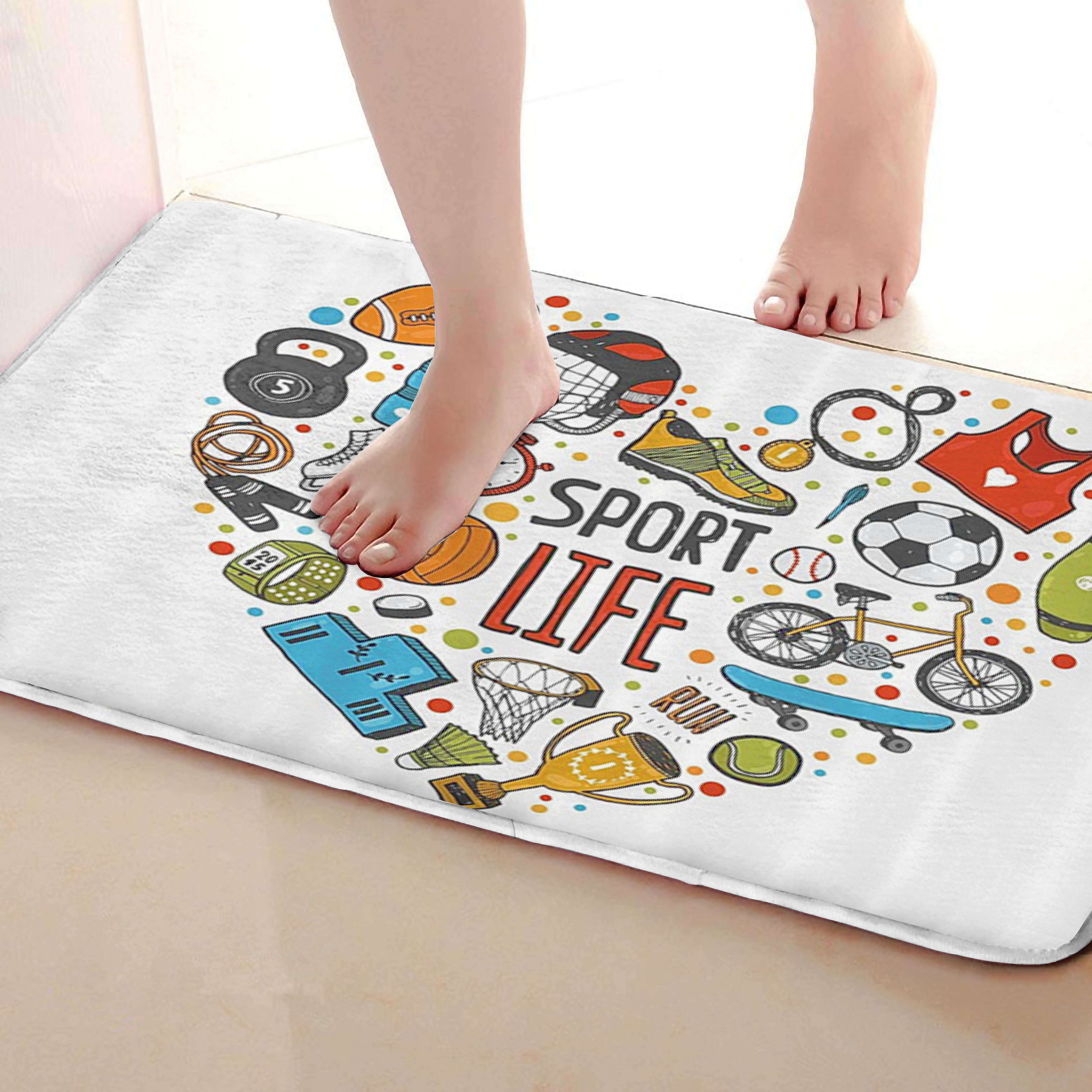 Sport Life Style Bathroom Mat,Funny Anti skid Bath Mat,Shower Curtains Accessories,Matching Your Shower Curtain