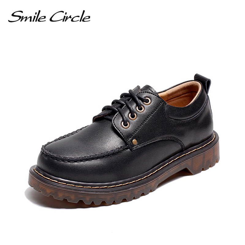 Smile Circle Flats Shoes Women Genuine leather platform Oxford shoes 2018 Autumn Comfortable Round Toe Lace
