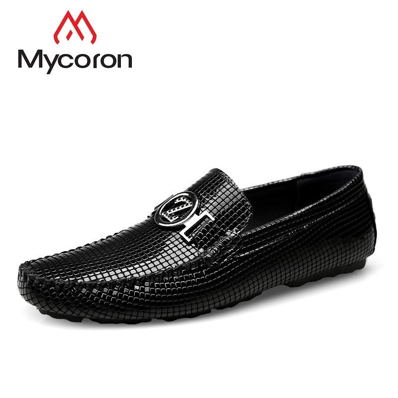Zapatos De Cuero Inferior Moda Conducción Loafer Cómodos La Perezoso Un Hombres Repujado Mycoron Lujo Genuino Marca Pedal Zapato Suave 5fqvn0wB