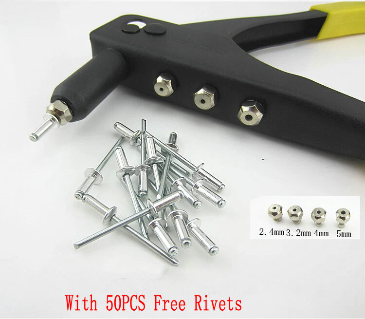 With Free 50PCS Rivets Hand Tools 4 Heads Pull Rivet Nail Gun Riveting Gun Of Hand Rivet Driver Free Shipping