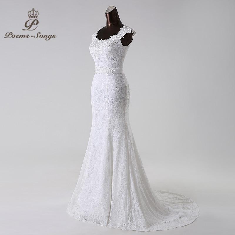 Image 3 - Poemssongs beautiful lace flowers  mermaid Wedding Dress vestidos de noiva robe de mariage bridal dress  Free shipping-in Wedding Dresses from Weddings & Events