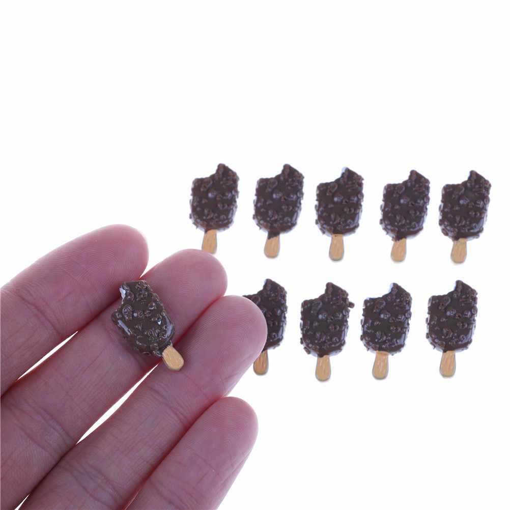 5pcs/lot Mini Ice Cream Bar Resin DIY Crunchy Ice-lolly Simulation Food For  Girl  Dolls Accessories Dolls Miniature Pretend Toy