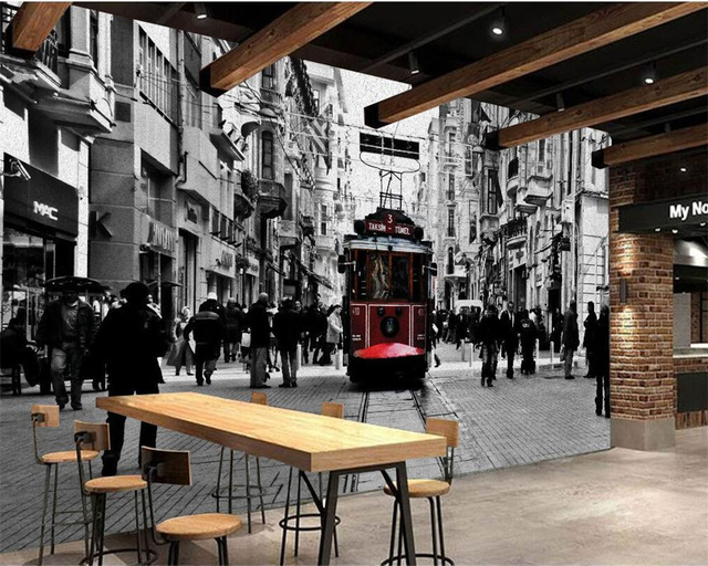 Beibehang Custom 3D Wallpaper Nostalgic Retro Black And White Old Shanghai Street View Modern Decorative