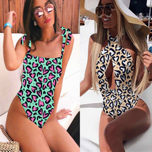 2019 Women's One-piece Swimsuit Sexy Leopard Print Swimsuit Push-up Swimsuit Bandage Female Beachwear Backless Tights frilled trim tribal print backless slit swimsuit