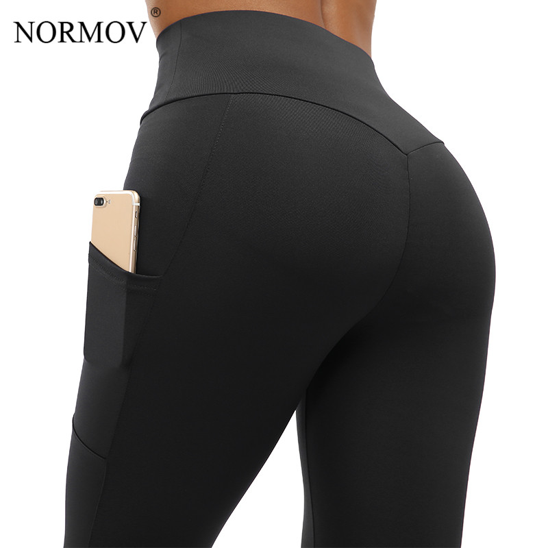NORMOV Leggings Women High Waist Fitness Legging Push Up With Pockets Patchwork Workout Leggins Pants Women Fitness Clothing