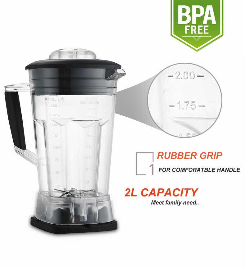 Automático Digital Touchscreen 3HP BPA LIVRE 2L Profissional Misturador Liquidificador Processador de Alimentos Espremedor De Alta Potência Smoothies da Fruta Verde