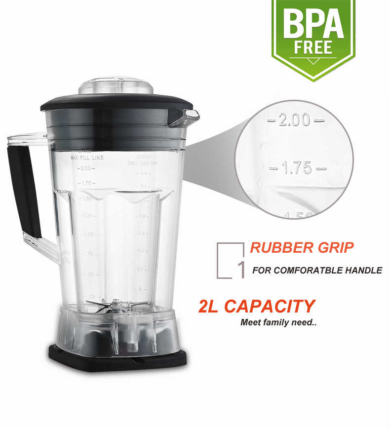 Pantalla táctil Digital automática 3HP BPA libre 2L mezclador de licuado profesional exprimidor de alta potencia procesador de alimentos batidos de fruta verde