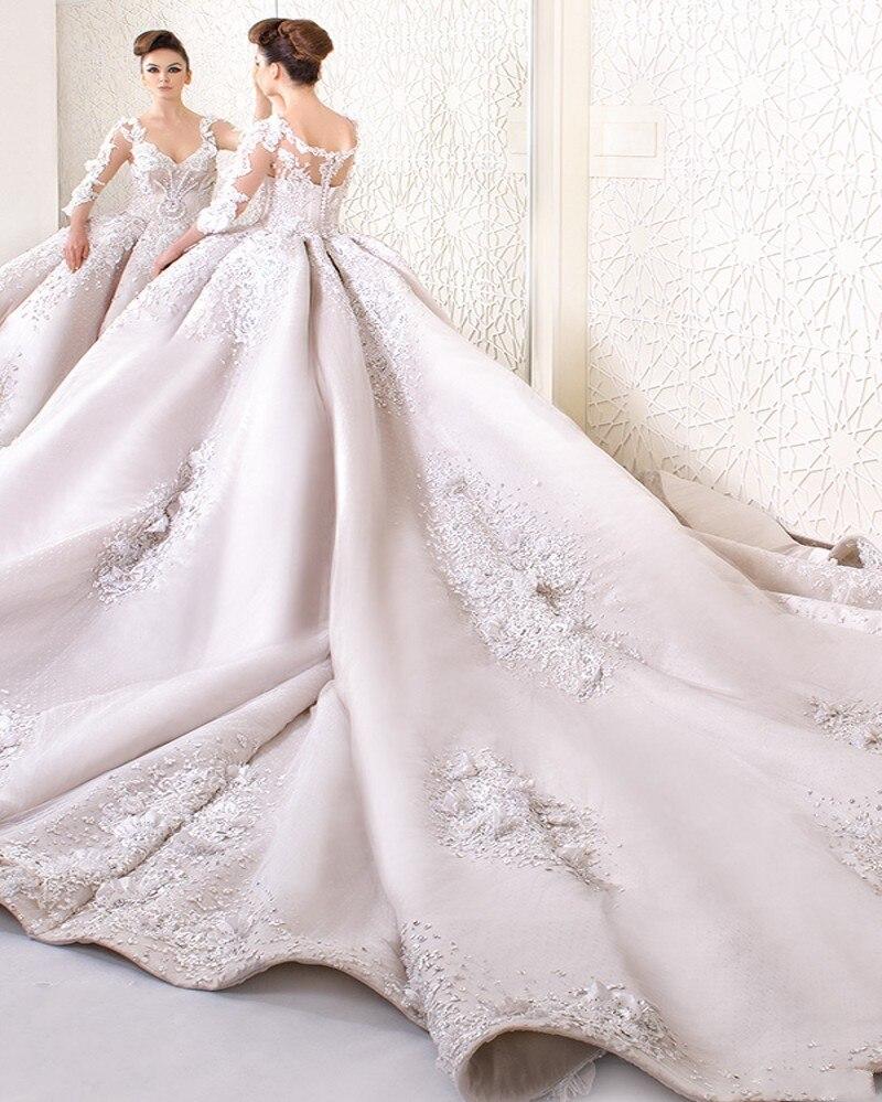 Wedding Wedding Dress Train custom made ball gown wedding dress 2017 light pink elegant v neck cathedral train latest muslim three quarter princess gowns in