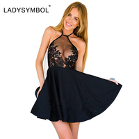 LadySymbol Elegant Black Summer Lace Casual Dress Women Halter Gauze Metallic Party Sexy Short Mini White