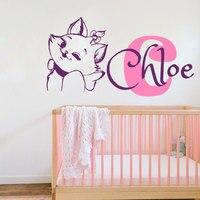 Vinyl Decals Kitty Custom Personalized Name Monogram Cat Sticker Baby Girl Bedroom Nursery Murals Home Decor