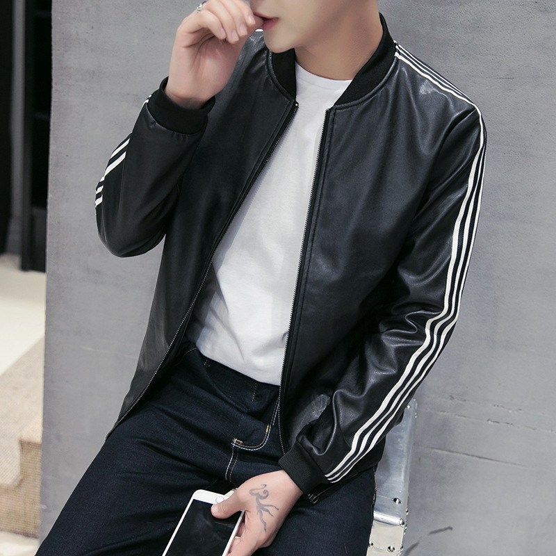 2018 young age season leisure mens clothing collar locomotive PU leather jacket arm stripe leather fashion