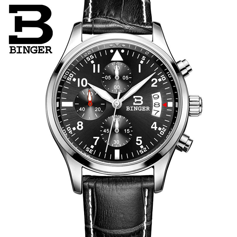 Binger watches men Sports watches Black steel Dual time Digital Quartz Watch waterproof casual business japan movt wristwatch round dual two time display dual movt steel band quartz watch for men oulm 9316 black