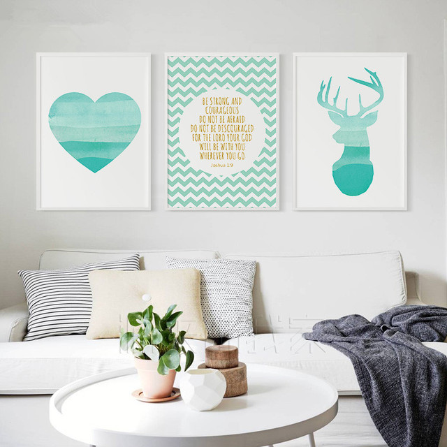 New Design Canvas Print For Home Decoration Love Painting Green Deer Letter Print Painting With Frame
