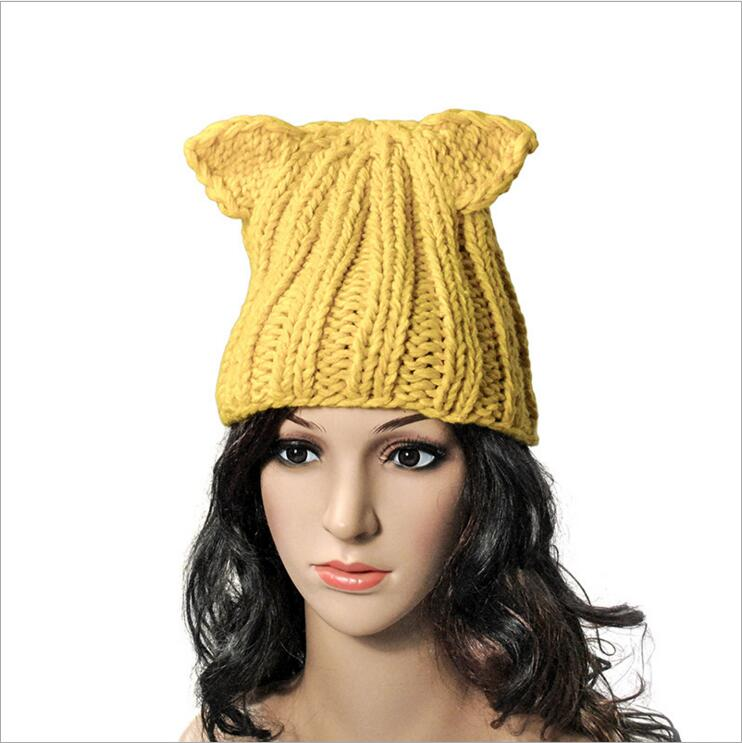 dc366cf0535 2017 New Fashion Winter Crochet Braided Knitted Beanie Women Girls Devil  Horns Cat Ear Hat Ski Head Warm Cap Animal Style Hats