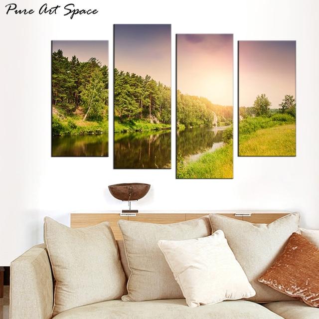 Beautiful River Landscape Painting 4 Piece Canvas Print Wall Art ...