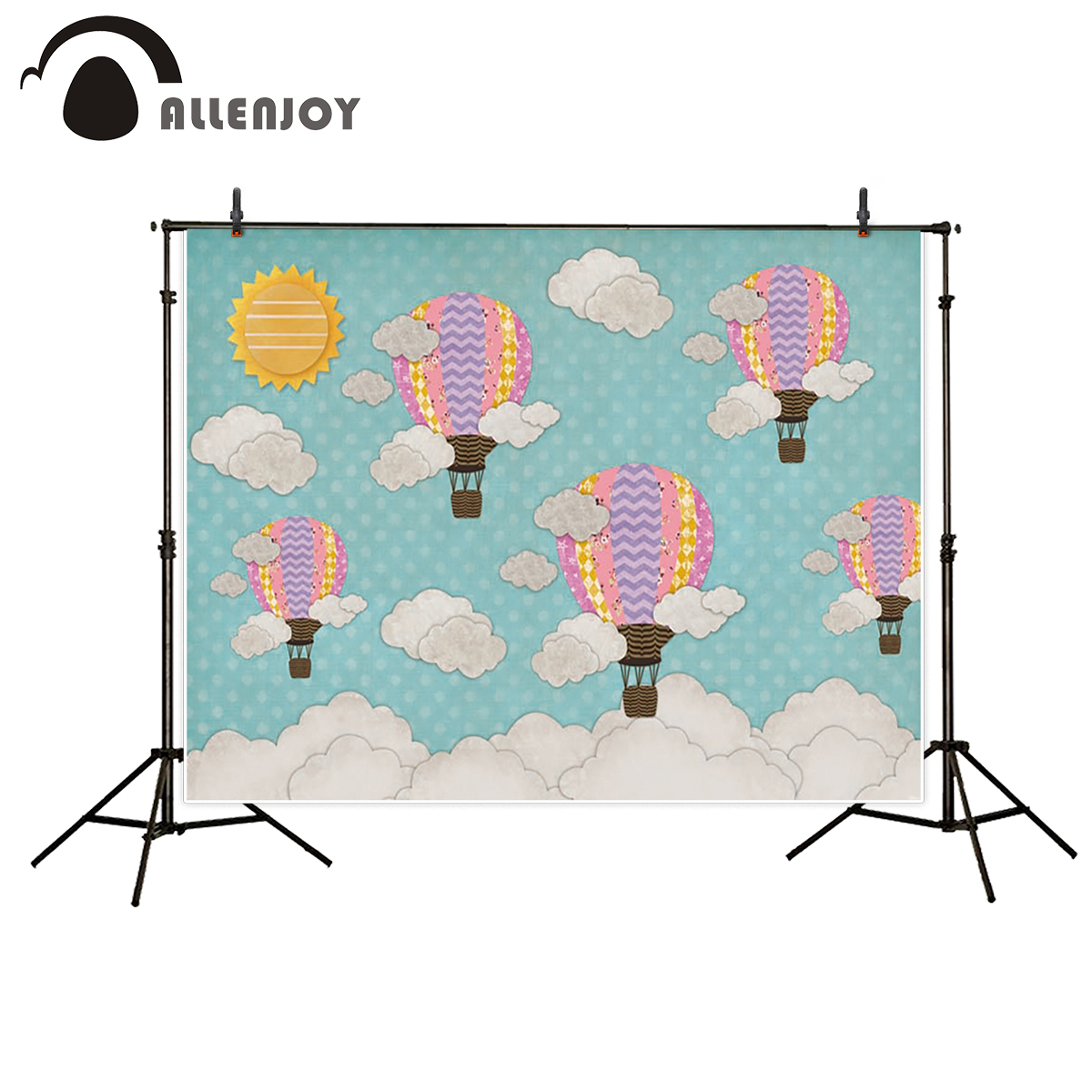 Allenjoy photography backdrop sun baby colorful hot air balloon cloud background newborn photobooth photo studio photo background blue sky white clound photography backdrops newborn hot air balloon fly studio photo backdrop