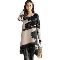 Long Sleeve Print Knitted Dress 2017 New Autumn Winter High Quality Cashmere Sweater Dresses Loose Warm