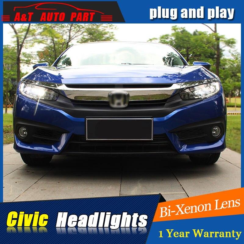 Авто.Про стайлинга автомобилей для Honda Цивик 2015 светодиодные фары для Хонда Цивик Тип DRL объектив двойным Луч H7 Ксеноновые Би Ксеноновые линзы