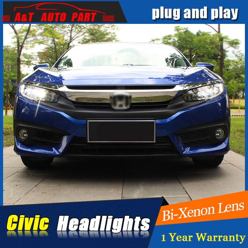 Auto.Pro Car Styling for Honda Civic LED Headlights 2015 For Honda Civic Style Lens Double Beam H7 HID Xenon bi xenon lens hireno headlamp for 2016 hyundai elantra headlight assembly led drl angel lens double beam hid xenon 2pcs