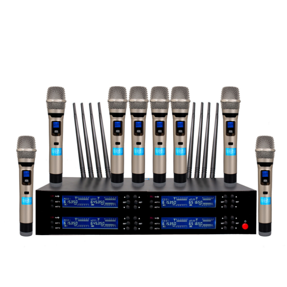 Professional Wireless Microphone UHF Eight Channel Microphone Conference Room / Family KTV / Karaoke OK Wireless Microphone